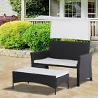 2 Piece Rattan Wicker Outdoor Loveseat with Canopy and Nesting Ottoman Footrest