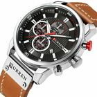 Men Waterproof Leather Aviator Army Military Chronograph Date Quartz Wrist Watch