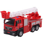 Metal Toy car Extension Pull Ladder Fire Engine Diecast Vehicle for Kids B'day