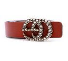 Women G-Style Gold Buckle Leather Slim Belts Gucci Logo Pattern For Jeans-2.8cm