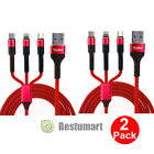 4 Pack Multi 3 in 1 USB Charger Charging Cable Cord Micro USB+iOS Port+Type C