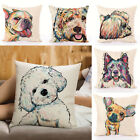 Cartoon Dog Cotton Line Pillow Case Cushion Cover Home Office Decor 18x18