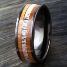 8mm Tungsten Deer Antler  Whiskey Barrel Wood Wedding Band Ring Jewelry TW