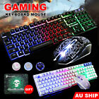 Gaming Keyboard Mouse Led Usb Backlight Ergonomic Pad For Pc Laptop Mac Lol Game