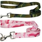 Camoflauge Dog Leashes Tough Nylon Pink or Green Camo Pattern Leads Choose Size
