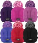 Mens Ladies Thermal Pom Pom Bobble Beanie Hat Rockjock Fleece Lined Winter Hat