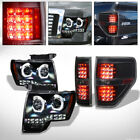 Fit 09-14 Ford F150 Black Halo Projector Headlights Amber+C-Shape LED Tail Light