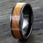 8mm Black Tungsten Whiskey Barrel Wood Inlaid Wedding Band Ring Jewelry TW
