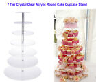 Round Crystal Clear Acrylic Cupcake Stand Wedding Display 5-7 Tiers Cake Tower