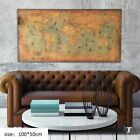 Retro World Map Old Art Nautical Paper Chart Ocean Painting Home Wall Decor US