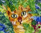 Green Eyed Golden Tabby Kitty Cat Hiding In The Bush Animal Wall Art Print