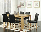Dining Table With 4 or 6 Dining Chairs Faux Leather Oak Walnut Dining Set