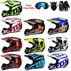 Mens FOX Motocross Helmet Extreme Sports Off Road ATV Dirt Bike With 3 Gifts US