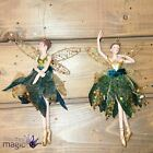 Gisela Graham Old Gold Peacock Ballerina Fairy Christmas Tree Hanging Decoration