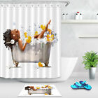 Shower Curtain Set Bathroom Mat African Girl In Bath Duck Toy Waterproof Fabric