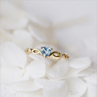 Gorgeous Heart Cut Colorful Birthstones Wedding Ring Silver/Gold Promise Jewelry