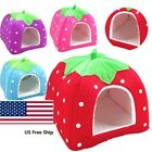 Soft Strawberry Pet Dog Cat Bed House Kennel Doggy Warm Cushion Basket S M L XL