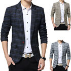 Men Fashion Plaids Slim Fit Casual Suit Blazer Coat Jacket Outwear Top Lot Sanw