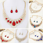 Women Shiny Rhinestone Waterdrop Pendant Necklace Earrings Jewelry Set Sanwood