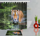 72/79'' Shower Curtain Hooks Waterproof Fabric Bathroom Mat Tiger In River