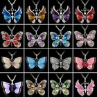 Vintage Crystal Rhinestone Enamel Butterfly Pendant Necklace Sweater Chain Gift