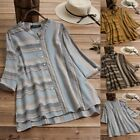 US Women Cotton Linen Stripe Top Blouse Casual Baggy Loose Tunic Shirt Plus Size