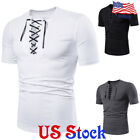 Men cross band V Neck T shirt Slim Fit Short Sleeve Muscle Tee Casual Blouse Top image