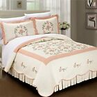 Serenta Prewashed Classic Embroidery Roses 3-piece Cotton Quilt Set image
