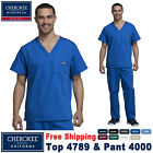 Cherokee Scrubs Set ORIGINALS Men's V-Neck Top  Drawstring Cargo Pant 4789/4000