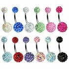Belly Button Bars Navel Rings Shamballa Cz Gem Balls Body Piercing Jewellery Bar