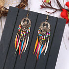 Women Vintage Ethnic Style Rainbow Colors Feather Dangle Earrings Jewelry Cb