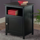 End Table Night Stand Bedroom Top Living Room Storage Cabinet Dvds Bluray Accent