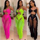 2PCS Tracksuit Solid Color Sleeveless Hollow out Short Jumpsuit+Mesh Ruffle Pant