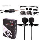 Dual-head Lavalier Mic Lapel Clip-on Condenser Microphone for iPhone Android Cod
