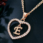 Fashion Women Rose Gold Initial Alphabet Letter A-Z Heart Pendant Chain Necklace