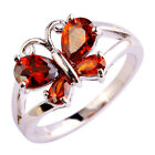 Wedding Bride Garnet Ruby & White Topaz Gemstone Jewelry Silver Ring Size 6-13