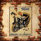 Triumph Motorcycle Iron Metal Poster Tin Sign Plate Wall Dec Vintage Signs Metal $6.99 USD on eBay