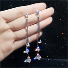 Gorgeous Shiny White Sapphire Butterfly Long Earrings 925 Silver Wedding Jewelry