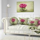 Designart 'Red Rose in Cup and Saucer' Floral Throw Pillow