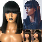 Short Bob Style Full Wig With Bangs Brazilian Virgin Human Hair Wigs Straight Zz