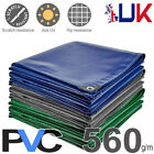 560gsm Heavy Duty Waterproof PVC Tarpaulin Cover Sheet Tarp Lorry Boat Garden UK