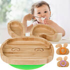 Внешний вид - Baby Toddler Suction Plate Stay Put Feeding Plate Natural Bamboo Rabbit Shape