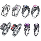 16 Style Cool Skull Gemstone 18k Black Gold Plated Silver Creative Ring Size 6-9