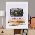 Wall Glam Fashion Art Canvas Print Books Gucci Prada Bag Poster Artwork