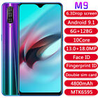 6.3'' M9 Smartphone Android 9.1 Dual Sim 6g+128g Mobile Phone Face Id Unlock Uk