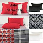 "Soft Satin Silk Pillowcase Cover Standard Size 20"" x 30"" Good Quality Multicolor image"