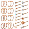Chinco 32 Pieces C-Shaped Nose Ring L-Shaped Hoop Tragus Nose Studs Bone Curved
