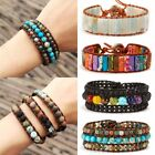 7 Chakra Natural Stone Crystal Tube Beads Bracelet Handmade Leather Wrap Bangle image