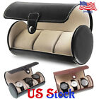 Leatherette Roll Great Gift Watch Case Box 3 Slot Round Travel Storage Organizer image