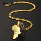 Mens Africa Map Shape Pendant Necklace Yellow Gold Plated Pendant Chain Jewelry image